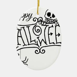 Ornement Ovale En Céramique Signe heureux de bande dessinée de Halloween