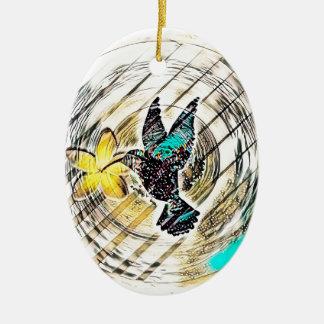 Ornement Ovale En Céramique Silhouette de colibri