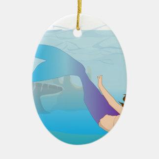 Ornement Ovale En Céramique Sirène