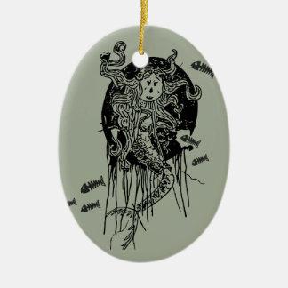 Ornement Ovale En Céramique Sirène de Halloween
