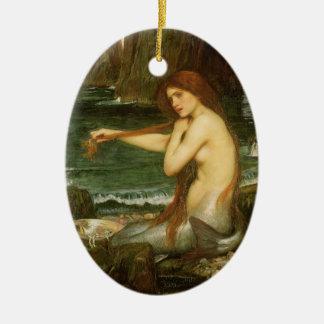 Ornement Ovale En Céramique Sirène par le château d'eau de JW, art victorien