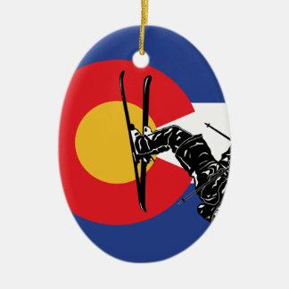 Ornement Ovale En Céramique Ski le Colorado