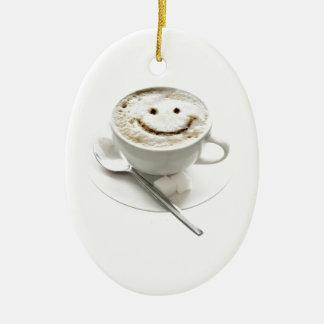 Ornement Ovale En Céramique Smiley de café