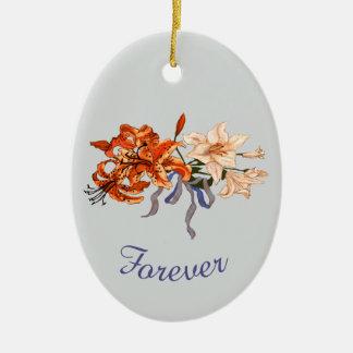 Ornement Ovale En Céramique Souvenir de mariage avec des lis tigrés