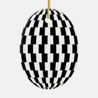 Ornement Ovale En Céramique Sphère d'illusion optique de damier