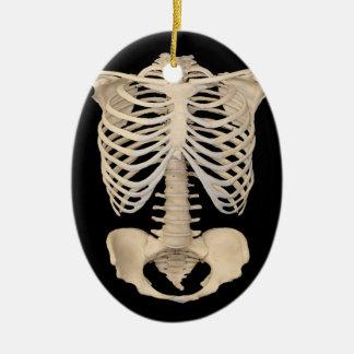 Ornement Ovale En Céramique Squelette effrayant de cage de zombi de partie de