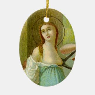 Ornement Ovale En Céramique St Agatha (M 003) de double image