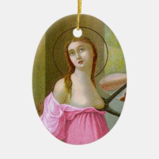 Ornement Ovale En Céramique St rose Agatha (M 003) de double image