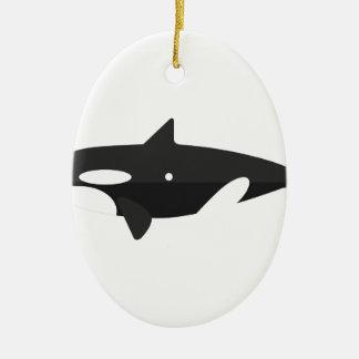 Ornement Ovale En Céramique Style de primitif de baleine d'orque