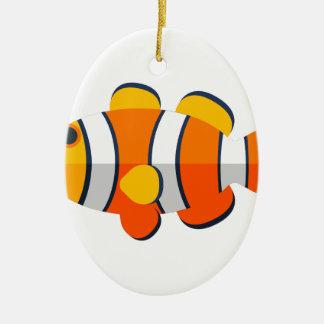 Ornement Ovale En Céramique Style de primitif de poissons de clown