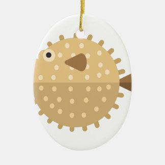 Ornement Ovale En Céramique Style de primitif de poissons de Purcupine