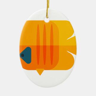 Ornement Ovale En Céramique Style jaune de primitif de poissons d'ange