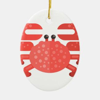 Ornement Ovale En Céramique Style rose de primitif de crabe