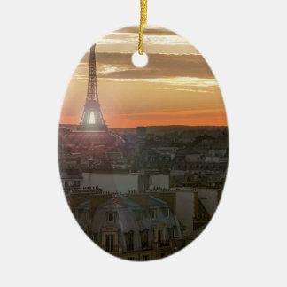 Ornement Ovale En Céramique Sunset on the Eiffel tower, Paris, France
