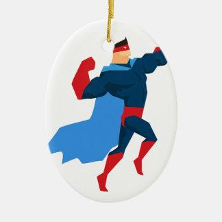 Ornement Ovale En Céramique Super héros dans l'action