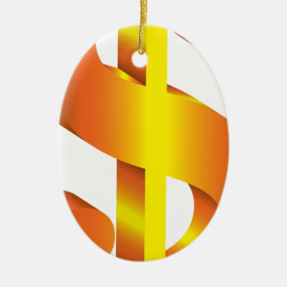 Ornement Ovale En Céramique Symbole dollar d'or