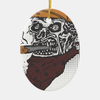 Ornement Ovale En Céramique Tabagisme de crâne