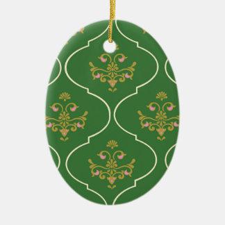 Ornement Ovale En Céramique Tapisserie verte