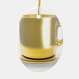 Ornement Ovale En Céramique Tasse de café d'or