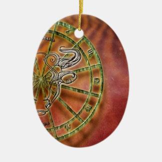 Ornement Ovale En Céramique taureau de signe de zodiaque