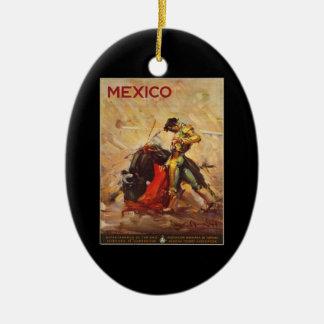 Ornement Ovale En Céramique Tauromachie vintage Matador du Mexique de voyage