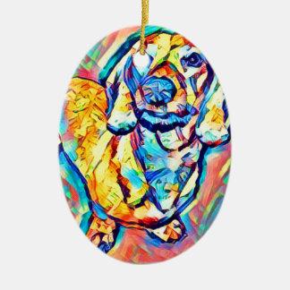 Ornement Ovale En Céramique Teckel coloré d'art de bruit