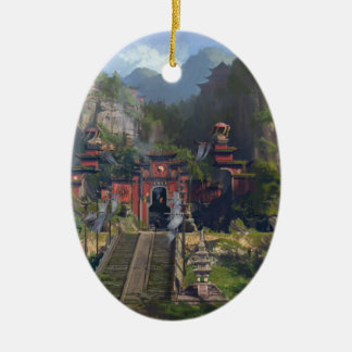 Ornement Ovale En Céramique Temple de Taoist