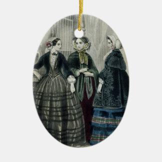 Ornement Ovale En Céramique Tenue victorienne vintage d'Edwardian de fantaisie