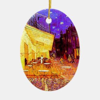 Ornement Ovale En Céramique Terrasse de café de Van Gogh la nuit