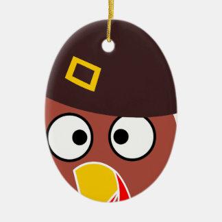 Ornement Ovale En Céramique thanksgiving_turkey_pilgrim_hat2