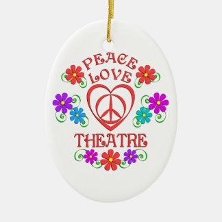 Ornement Ovale En Céramique Théâtre d'amour de paix
