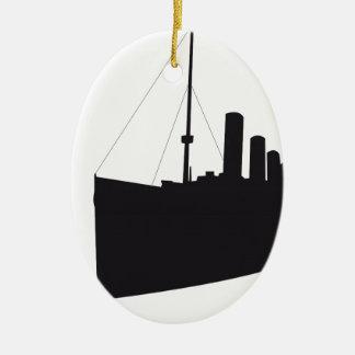 Ornement Ovale En Céramique titanic ombre