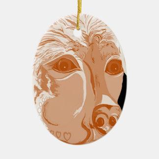 Ornement Ovale En Céramique Tons de sépia de rottweiler