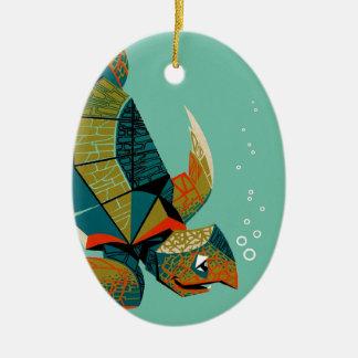 Ornement Ovale En Céramique Tortue de mer australienne gaie