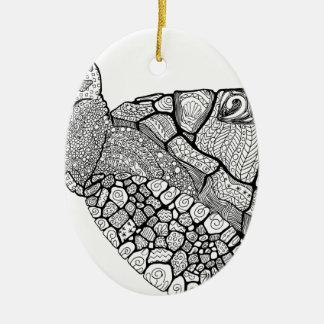 Ornement Ovale En Céramique Tortue de mer florale