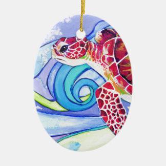 Ornement Ovale En Céramique Tortue de Surfin
