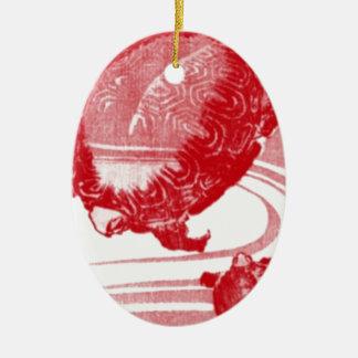 Ornement Ovale En Céramique Tortues rouges dans l'eau de tourbillonnement
