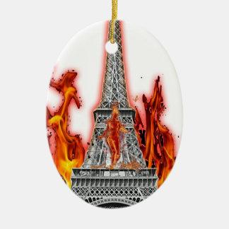 Ornement Ovale En Céramique tour eiffel fire