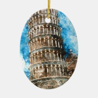 Ornement Ovale En Céramique Tour penchée de Pise en Italie