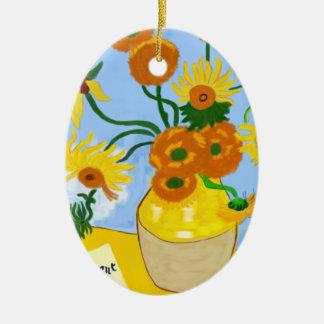 Ornement Ovale En Céramique Tournesols Van Gogh