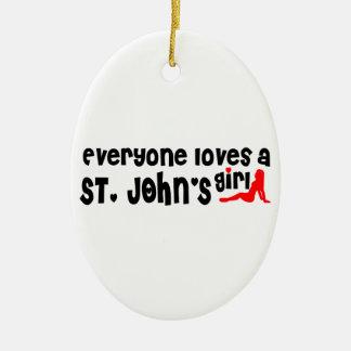 Ornement Ovale En Céramique Tout le monde aime la fille d'un St John