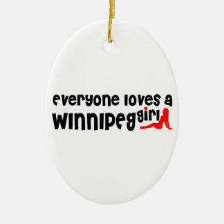 Ornement Ovale En Céramique Tout le monde aime une fille de Winnipeg