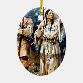 Ornement Ovale En Céramique trappeur et femme indienne
