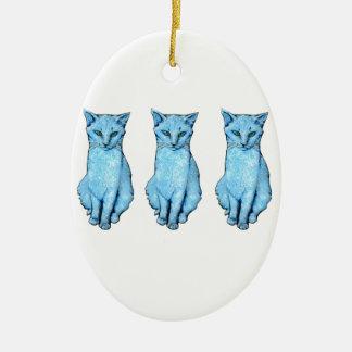 Ornement Ovale En Céramique Trois chats bleus