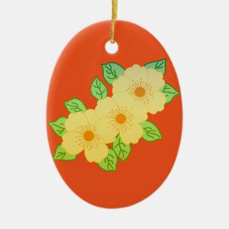 Ornement Ovale En Céramique trois fleurs jaunes