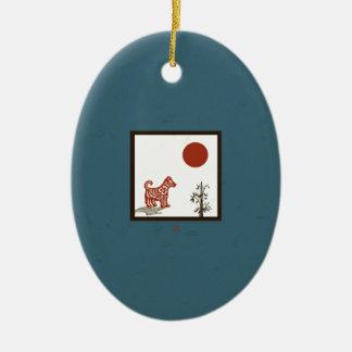 Ornement Ovale En Céramique Tuile de chien de kanji