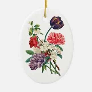 Ornement Ovale En Céramique Tulipes et pivoines de Redoute