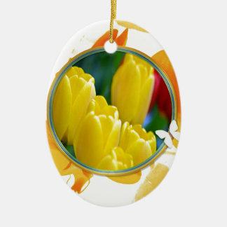 Ornement Ovale En Céramique Tulipes jaunes dans le cadre rond coloré