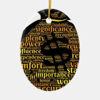 Ornement Ovale En Céramique Typographie inspirée d'argent