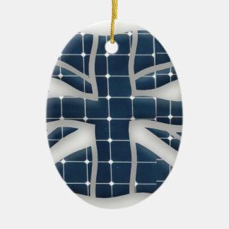 Ornement Ovale En Céramique Union Jack avec les panneaux solaires